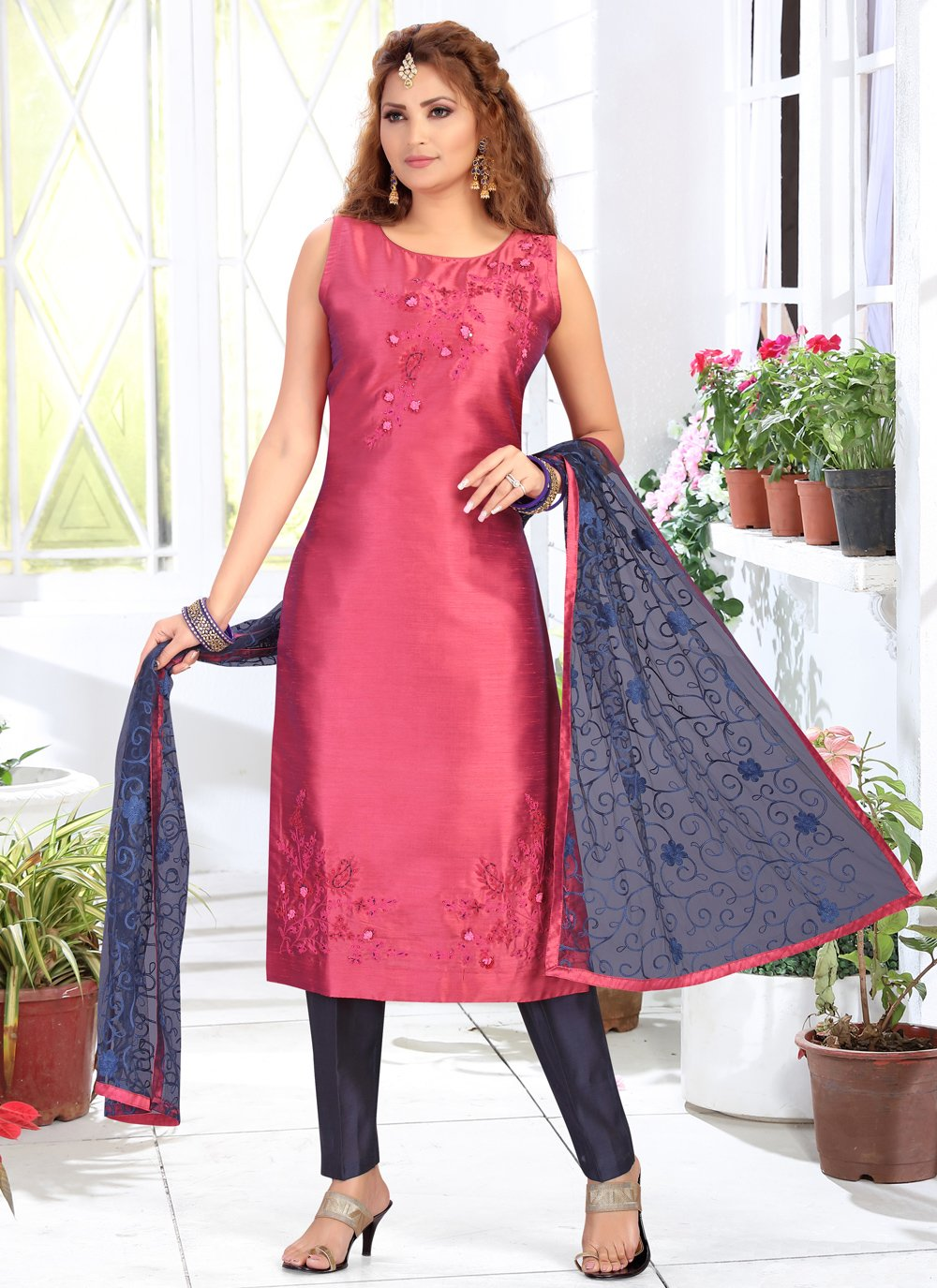 Chanderi Readymade Suit in Pink