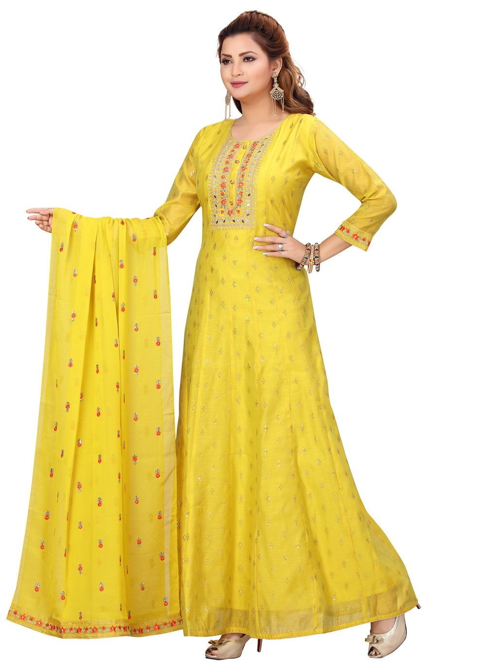 Chanderi Readymade Suit in Yellow