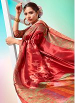 Chanderi Red Foil Print Traditional Saree