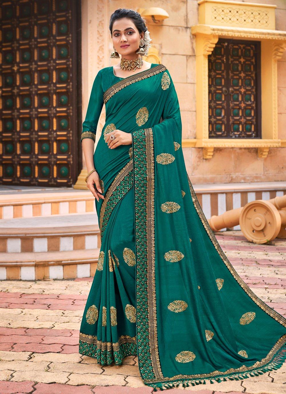 Chanderi Sea Green Traditional Saree