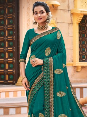 Chanderi Sea Green Traditional Saree