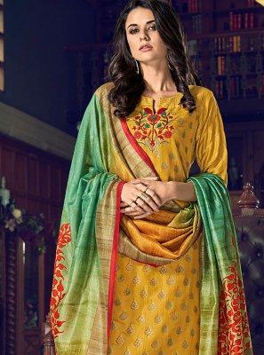 Chanderi Silk Mustard Designer Palazzo Salwar Kameez