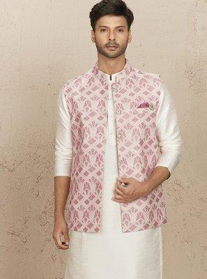 Chanderi Silk Pink and White Kurta Payjama With Jacket