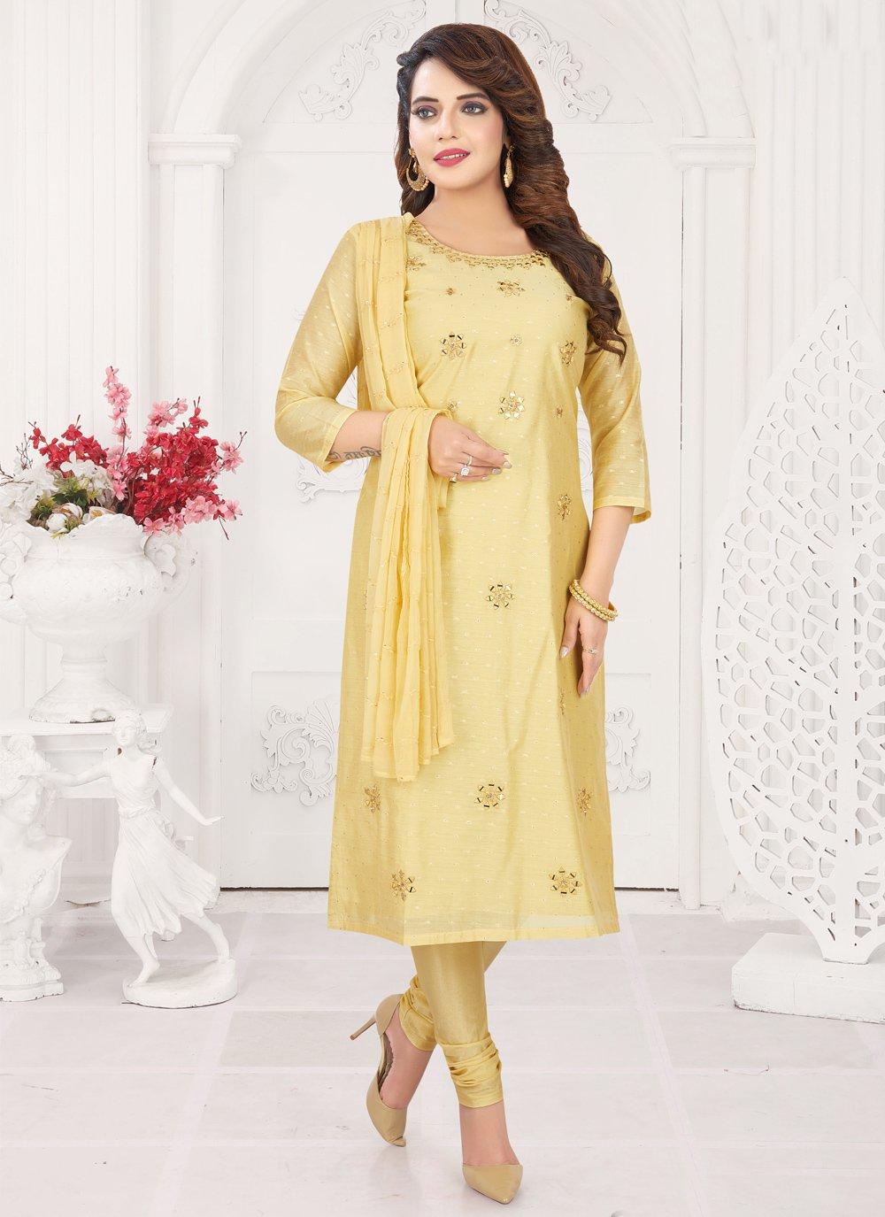 Chanderi Trendy Churidar Suit