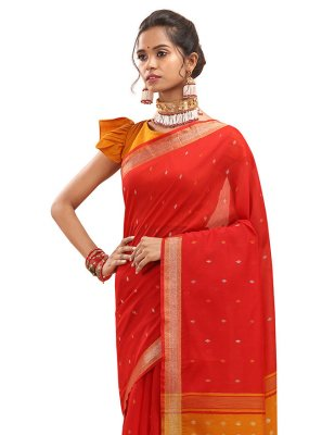 Chanderi Woven Red Traditional Saree