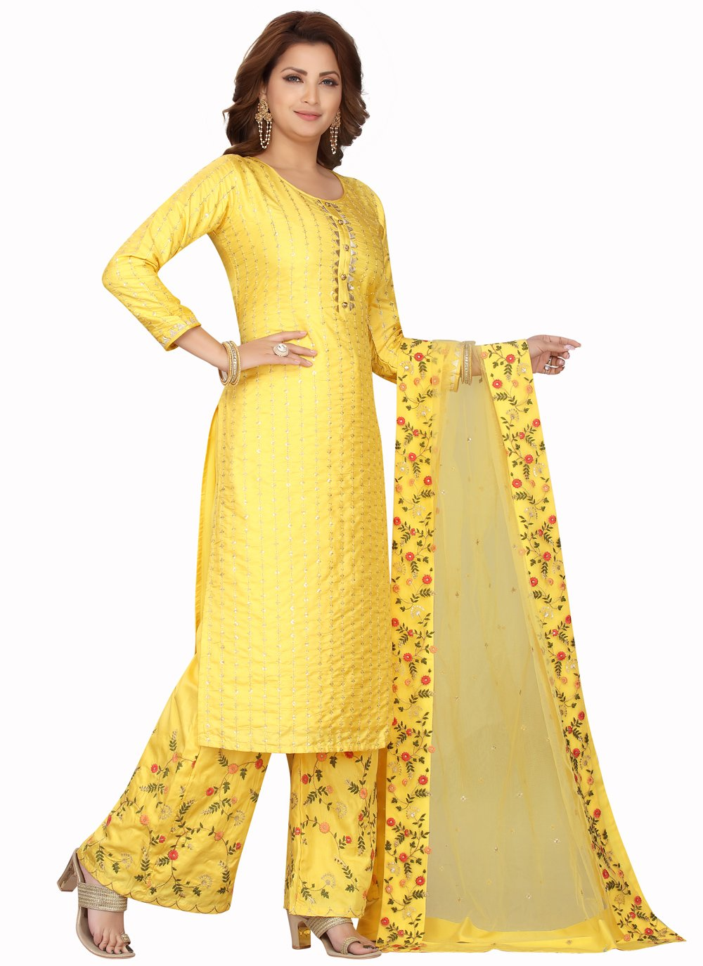Chanderi Yellow Embroidered Readymade Suit