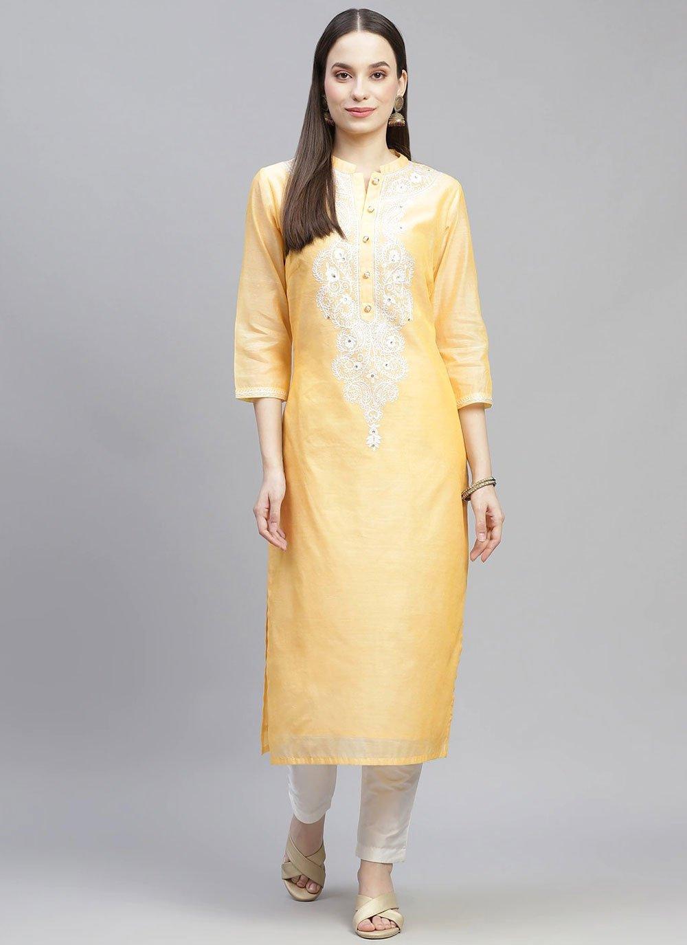 Chanderi Yellow Fancy Party Wear Kurti