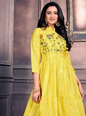 Chanderi Yellow Party Wear Kurti