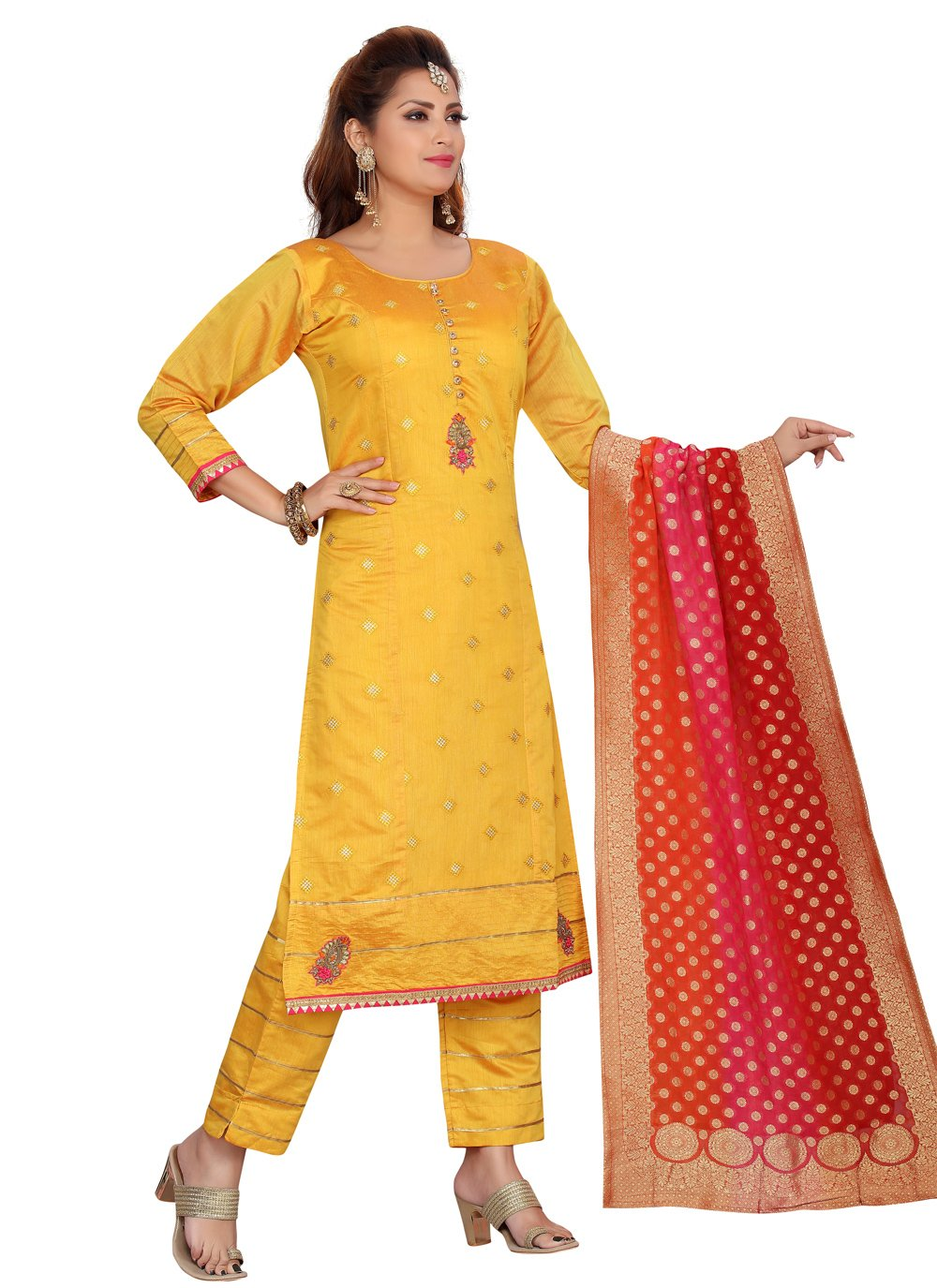 Chanderi Yellow Readymade Suit