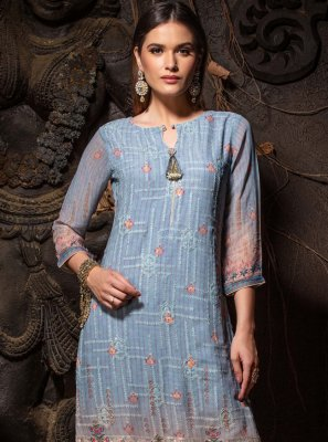 Chicken Faux Georgette Blue Party Wear Kurti