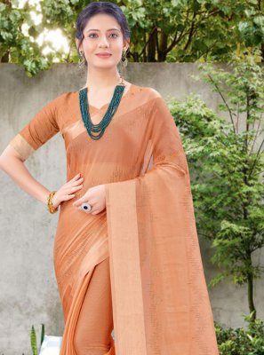 Chiffon Satin Stone Work Peach Designer Traditional Saree
