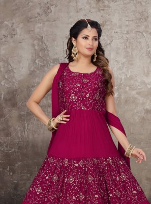 Chinon Embroidered Pink Anarkali Salwar Kameez