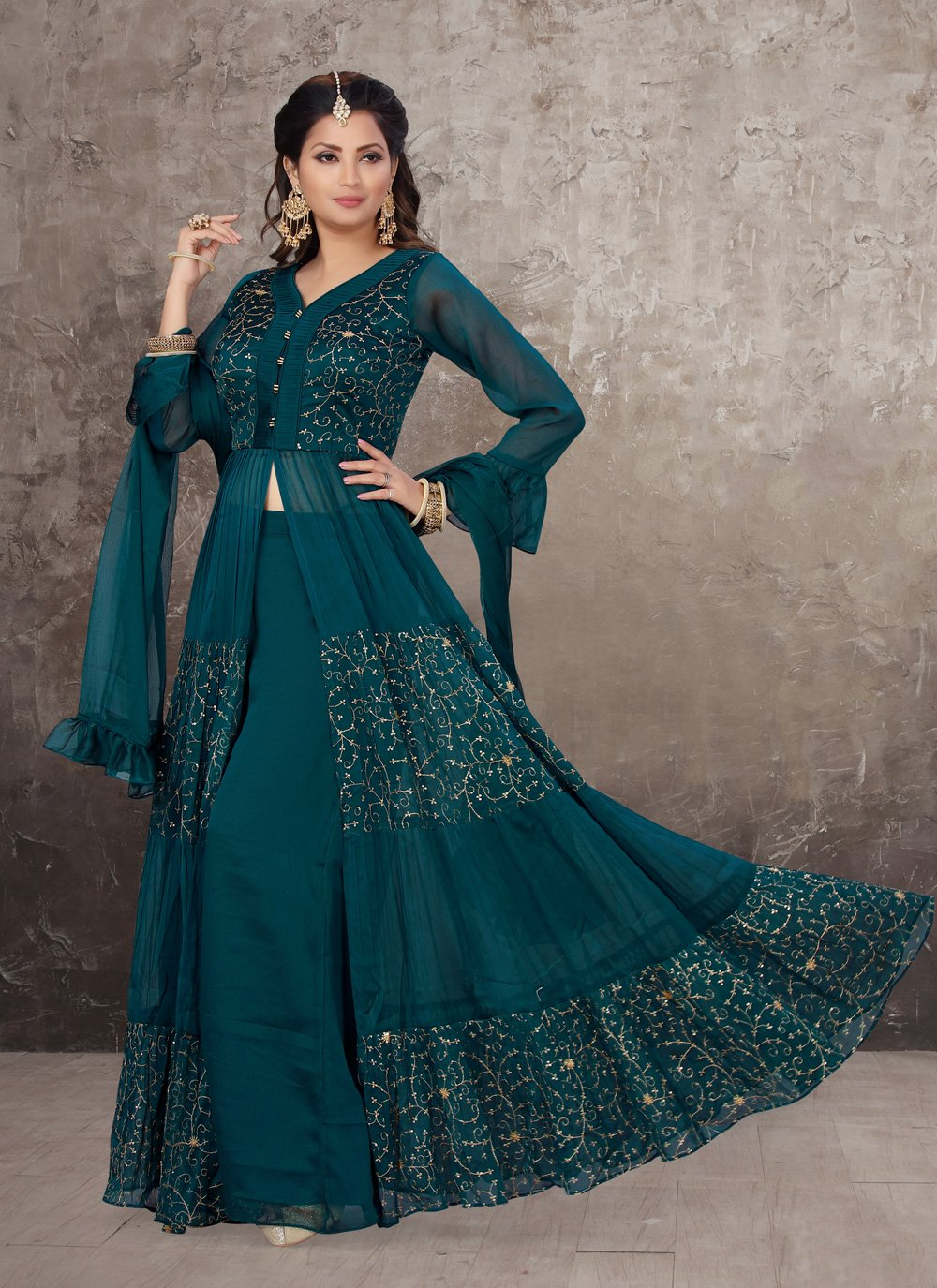 Chinon Embroidered Teal Designer Salwar Kameez