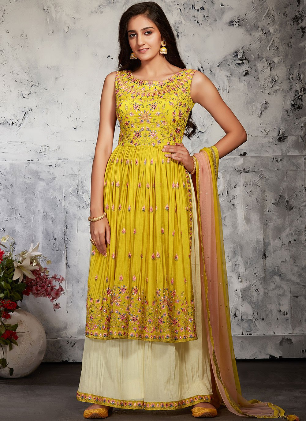 Chinon Fancy Designer Palazzo Suit in Off White and Yellow