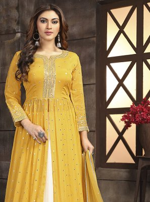 Chinon Off White and Yellow Fancy Readymade Lehenga Choli