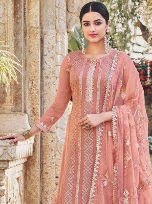 Chinon Pink Embroidered Designer Palazzo Salwar Kameez