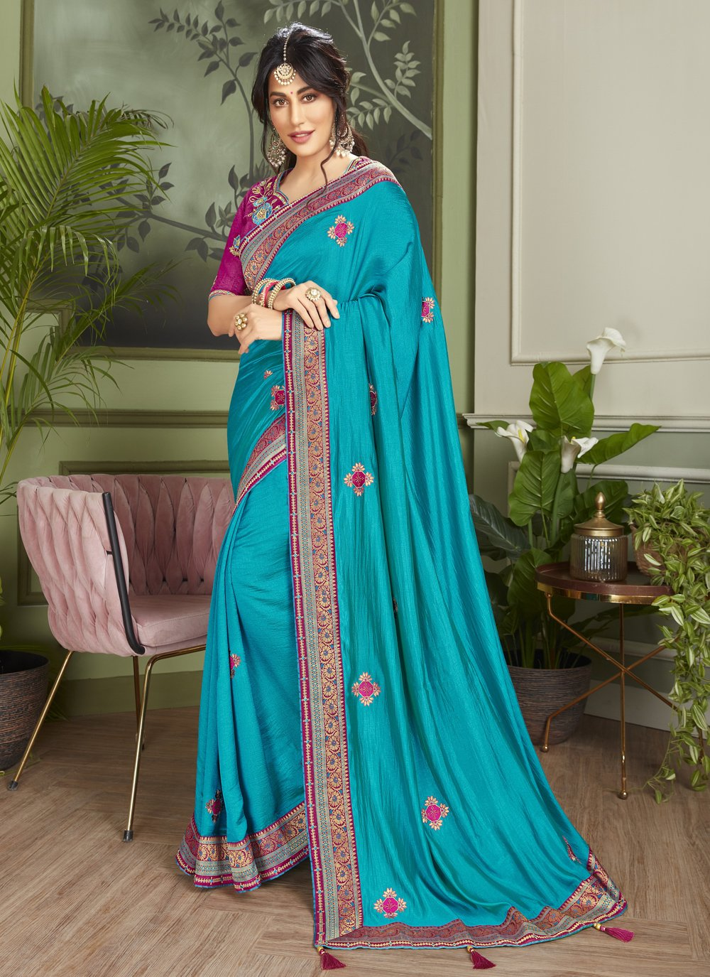 Chitrangada Singh Blue Engagement Designer Traditional Saree