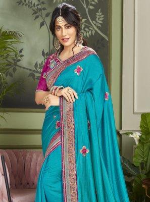 Chitrangada Singh Blue Engagement Designer Traditional Saree