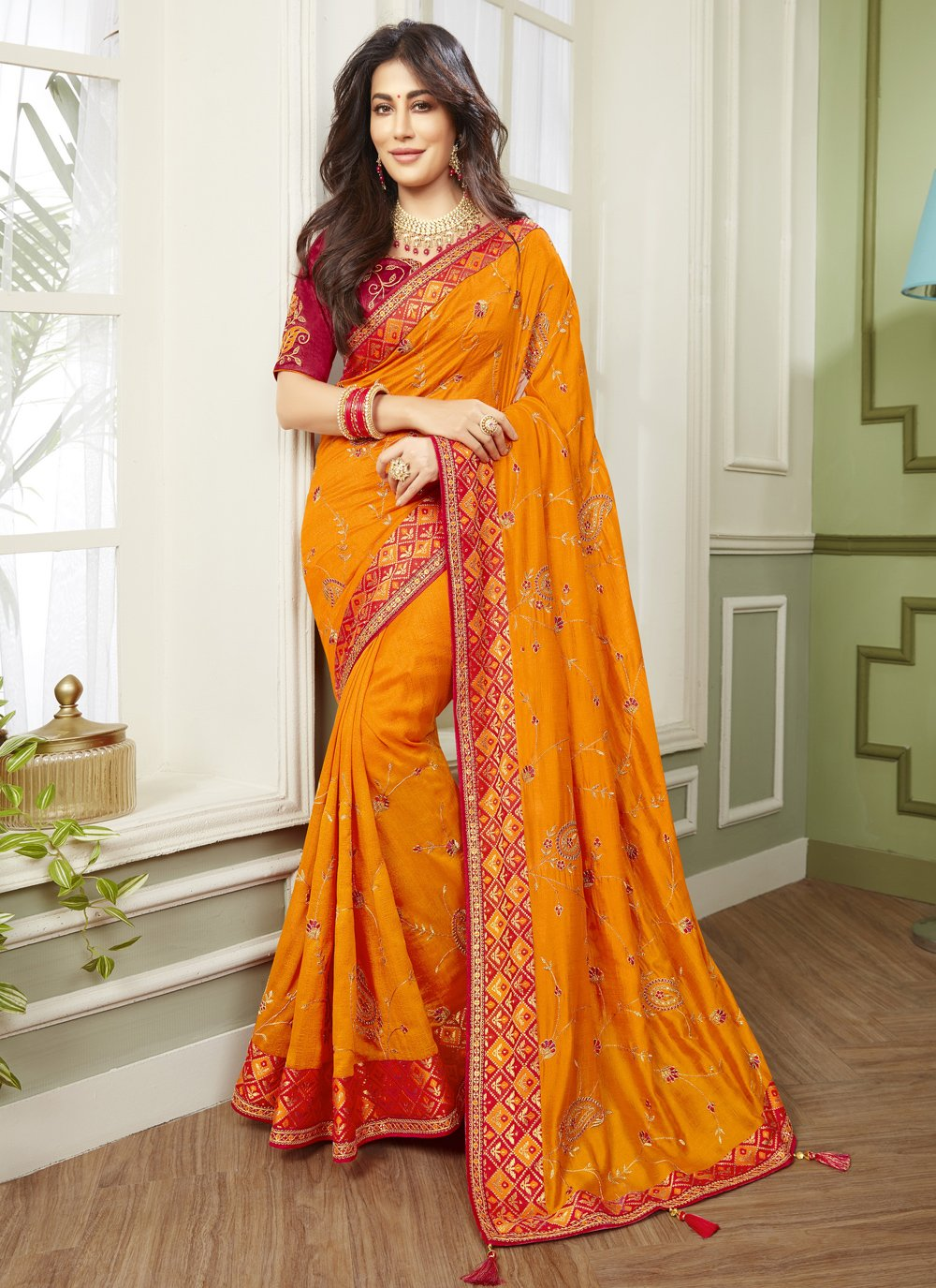 Chitrangada Singh Designer Traditional Saree For Mehndi