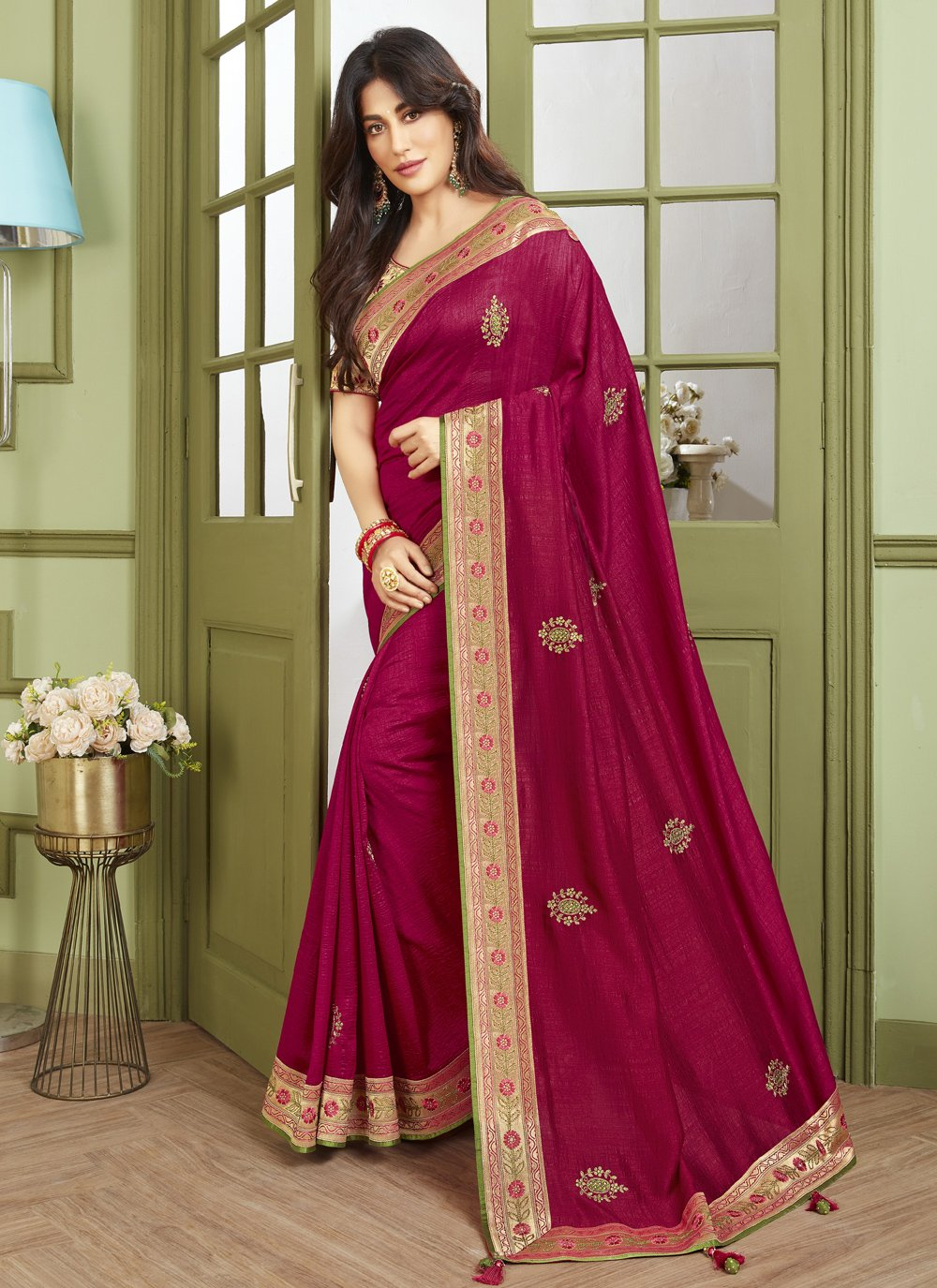 Chitrangada Singh Fancy Fabric Magenta Patch Border Traditional Designer Saree