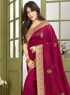 Chitrangada Singh Fancy Fabric Magenta Patch Border Traditional Designer Saree