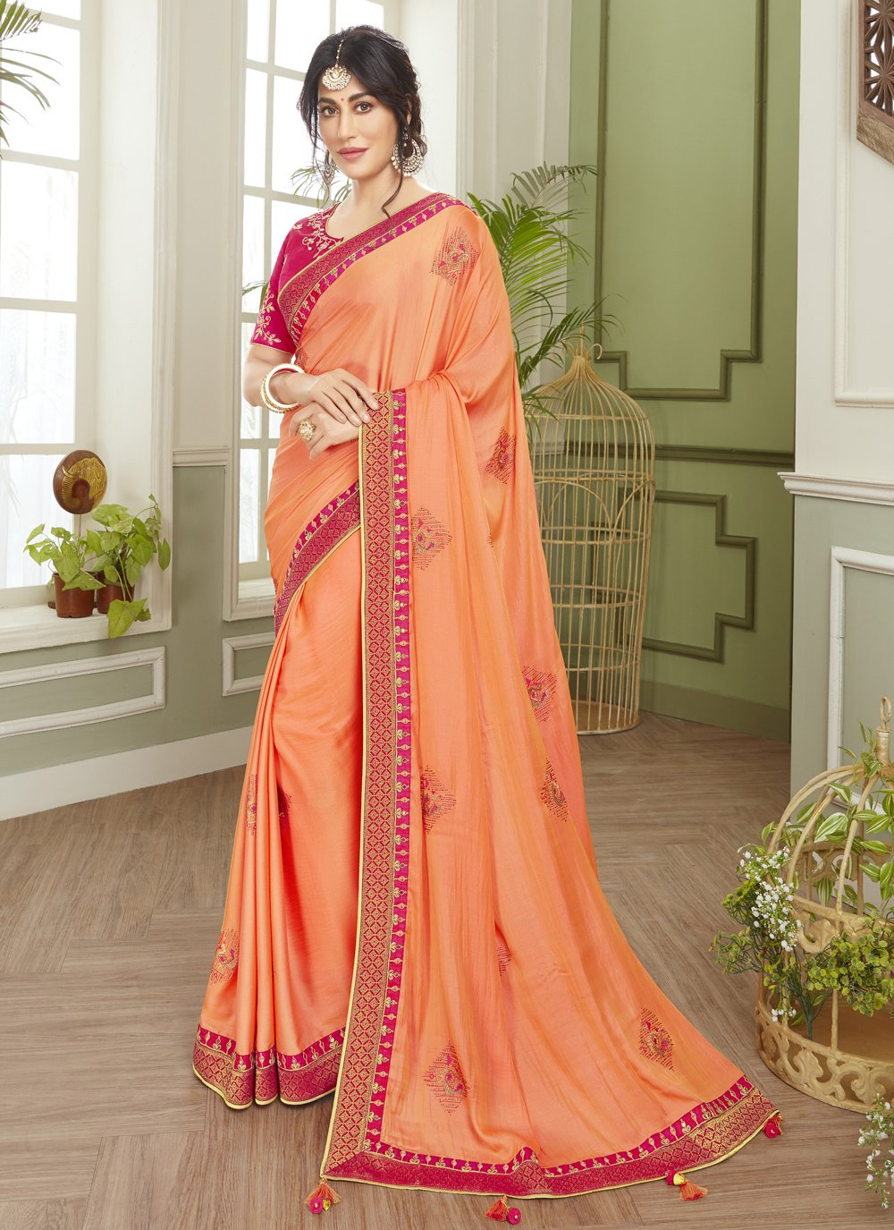 Chitrangada Singh Orange Engagement Classic Designer Saree