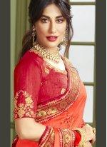 Chitrangada Singh Orange Fancy Fabric Resham Designer Traditional Saree
