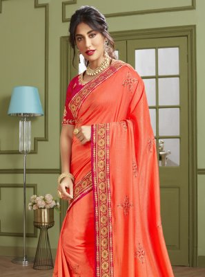 Chitrangada Singh Orange Fancy Fabric Resham Designer Traditional Saree