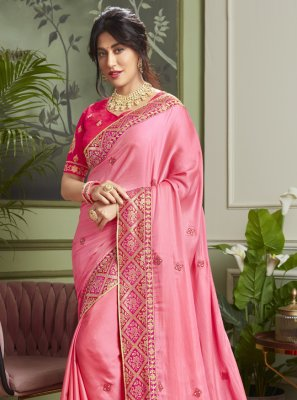 Chitrangada Singh Patch Border Pink Fancy Fabric Classic Designer Saree