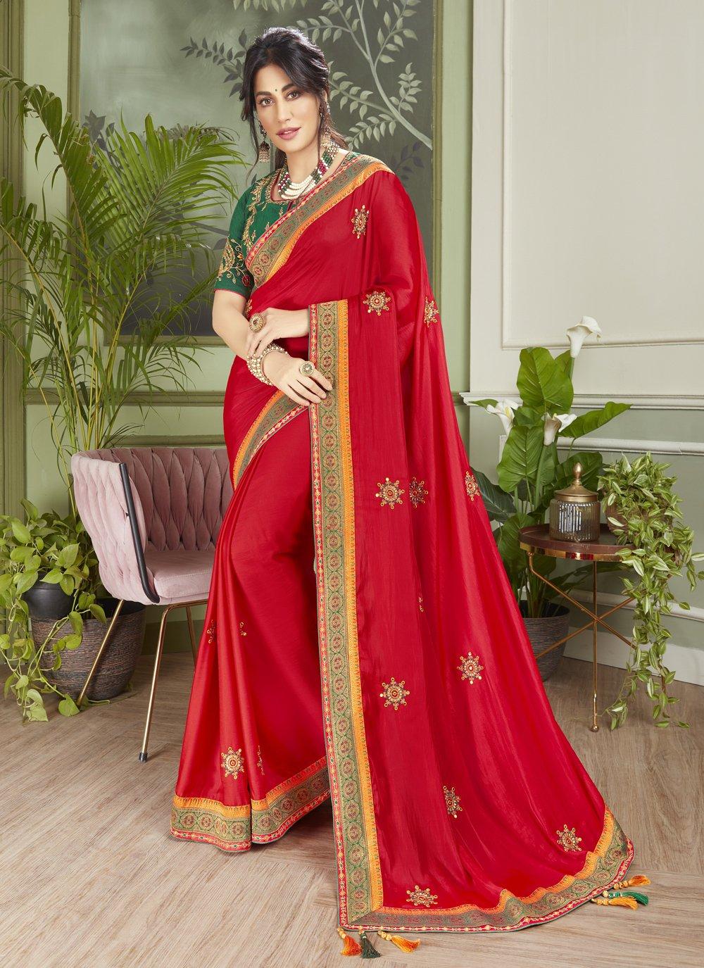 Chitrangada Singh Patch Border Red Fancy Fabric Designer Traditional Saree
