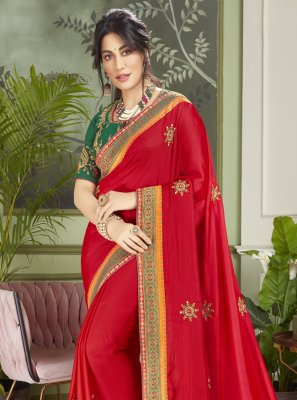 Chitrangada Singh Patch Border Red Fancy Fabric Designer Traditional Saree