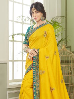 Chitrangada Singh Patch Border Yellow Fancy Fabric Classic Designer Saree