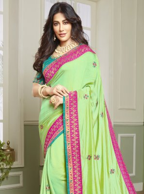 Chitrangada Singh Resham Green Fancy Fabric Designer Traditional Saree