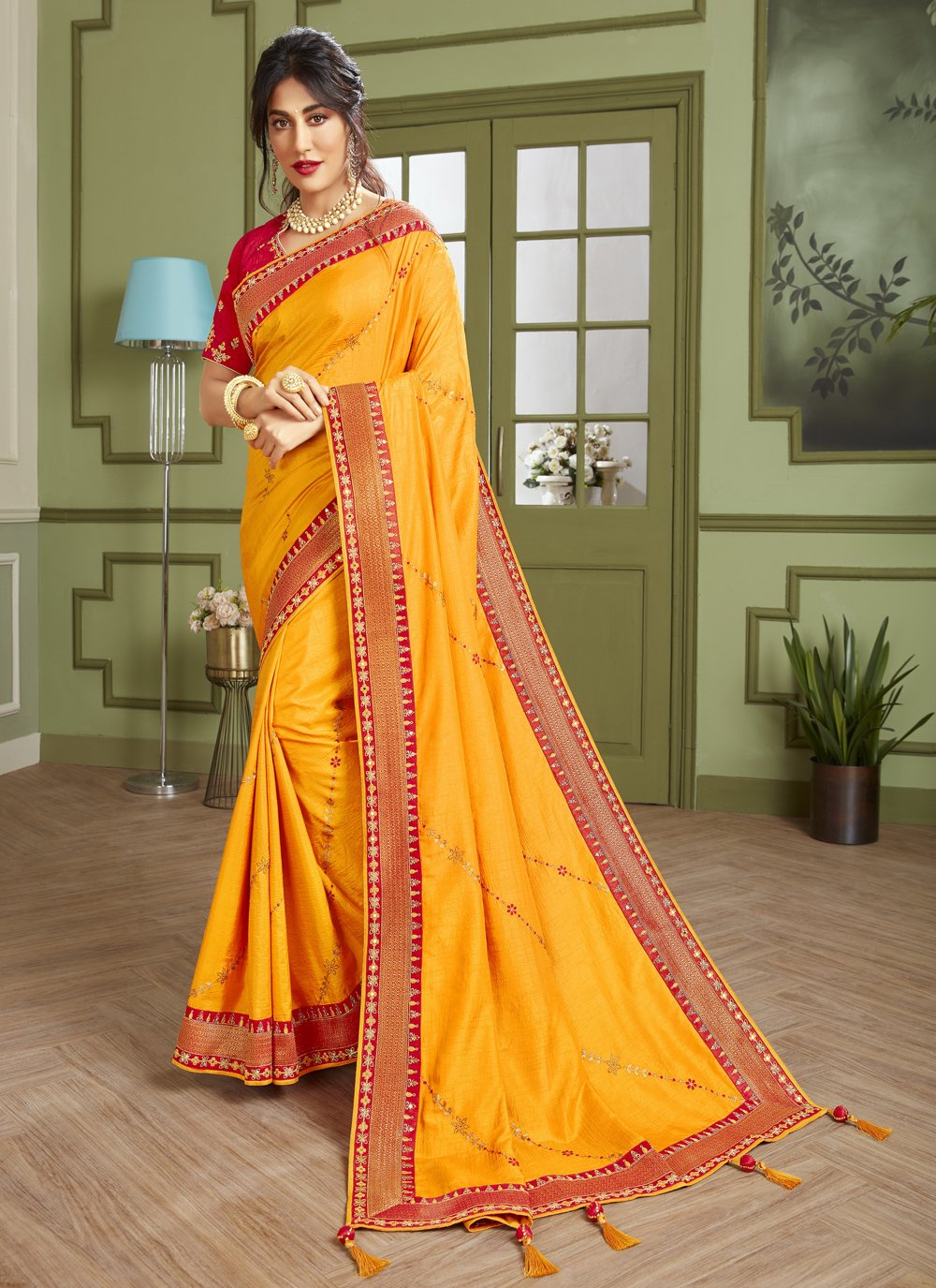 Chitrangada Singh Yellow Fancy Fabric Trendy Saree