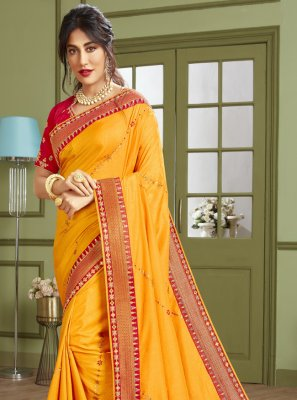 Chitrangada Singh Yellow Fancy Fabric Trendy Saree