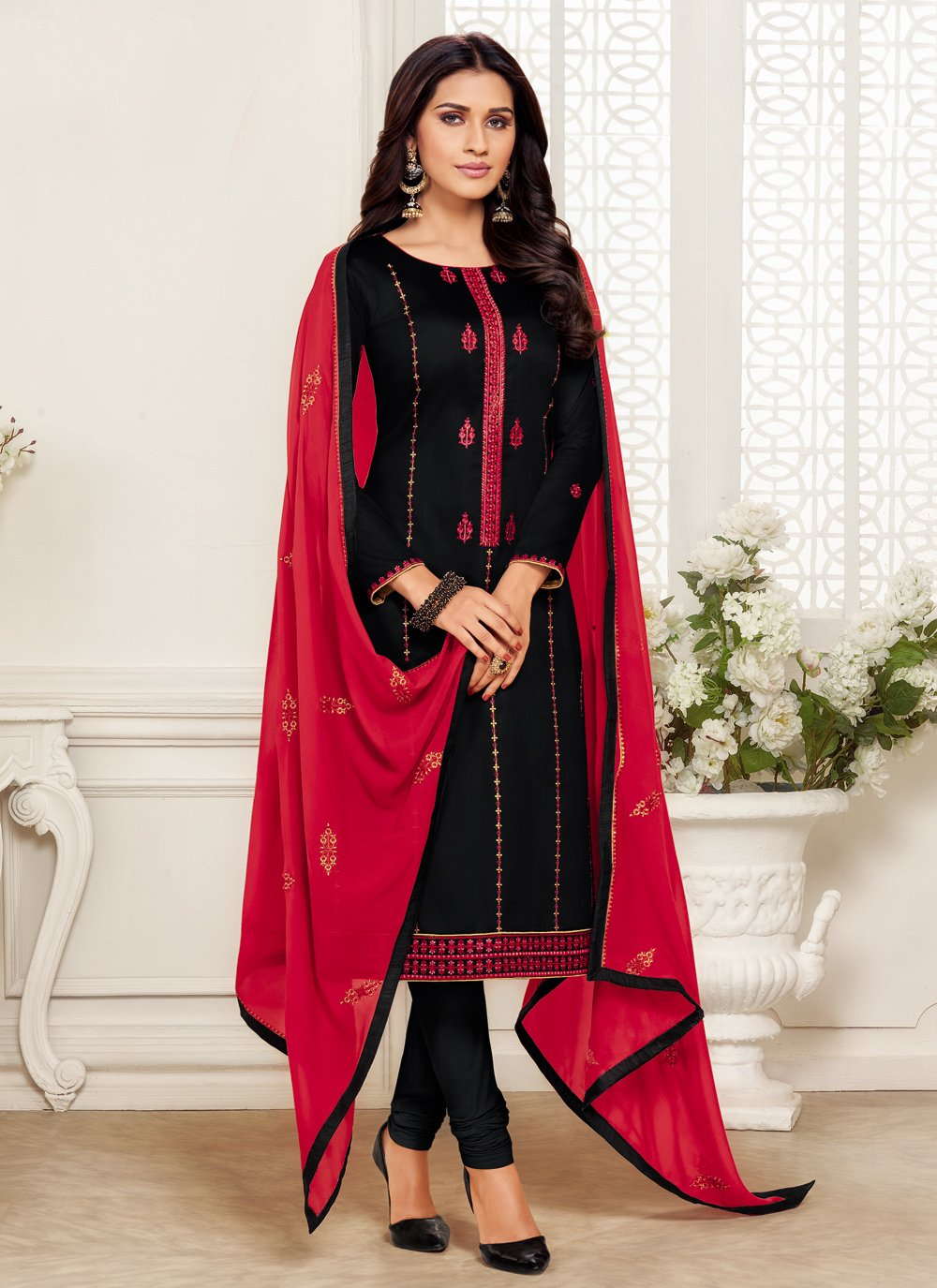 Churidar Designer Suit Embroidered Cotton Silk in Black