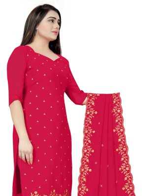 Churidar Designer Suit Embroidered Faux Georgette in Red