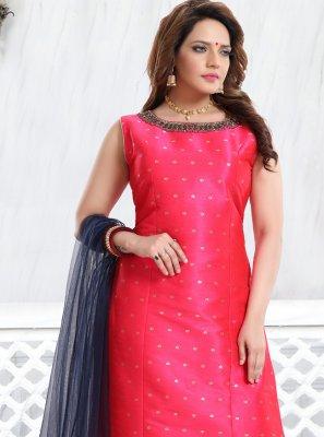 Churidar Designer Suit Handwork Fancy Fabric in Rani