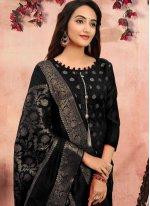 Churidar Designer Suit Printed Banarasi Silk in Black