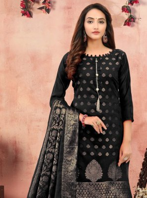 Churidar Designer Suit Printed Banarasi Silk in Black