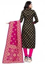 Churidar Designer Suit Weaving Banarasi Silk in Black