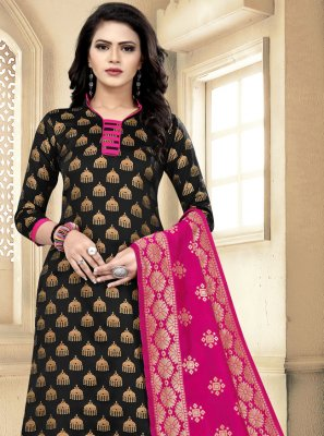 Churidar Designer Suit Weaving Banarasi Silk in Black