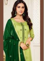 Churidar Salwar Kameez Embroidered Cotton Silk in Green