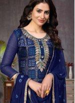 Churidar Salwar Kameez Fancy Banarasi Silk in Blue