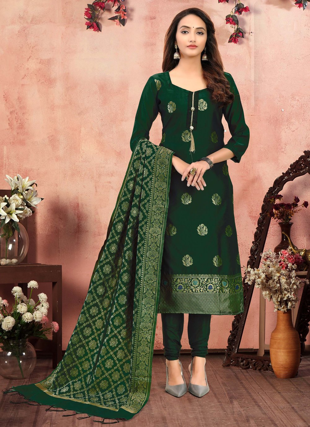 Churidar Suit Printed Banarasi Silk in Green