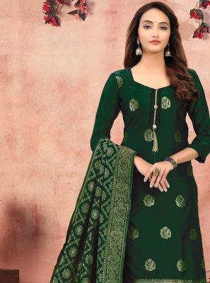 Churidar Suit Printed Banarasi Silk in Green