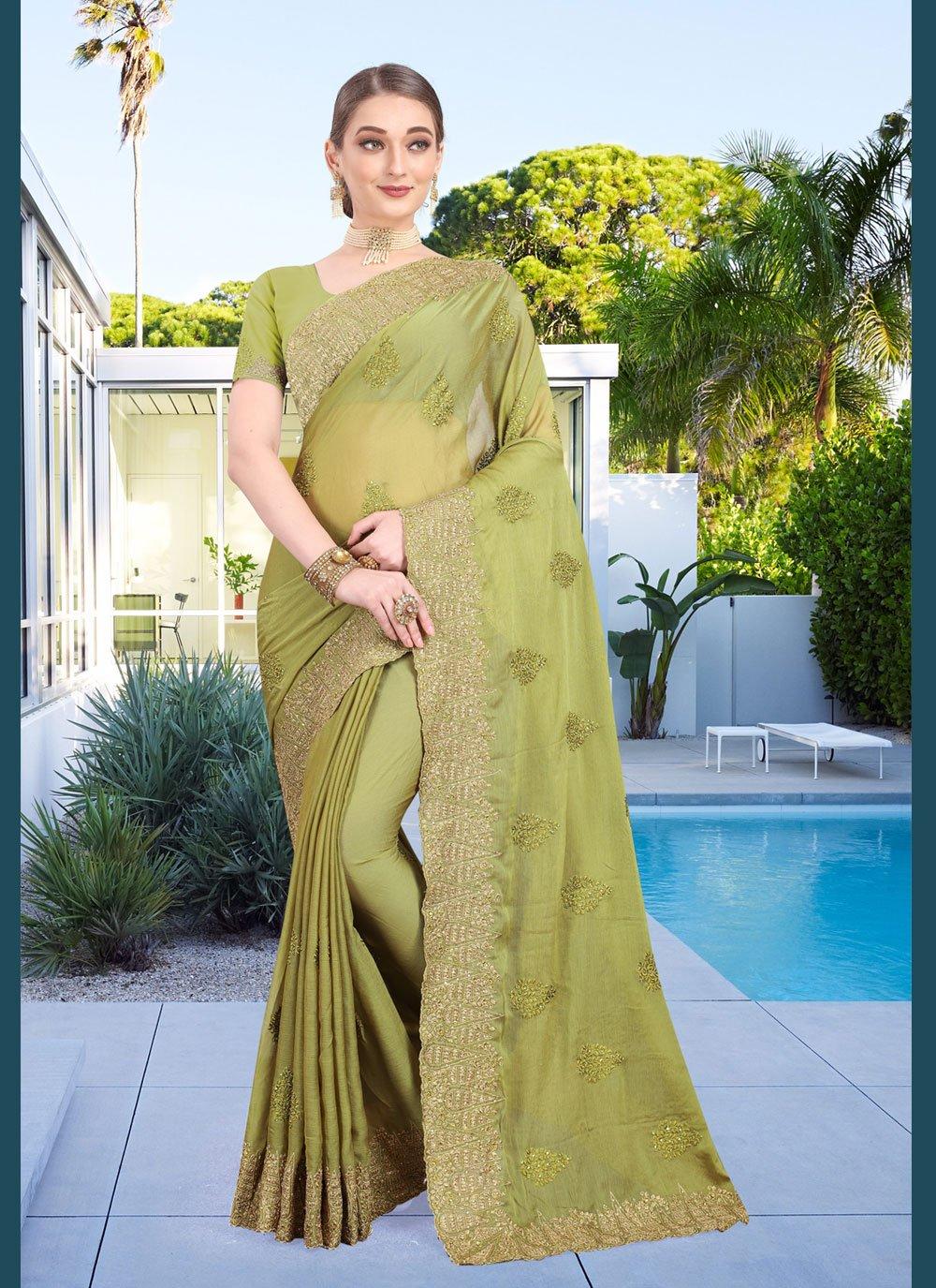 Classic Designer Saree Embroidered Faux Chiffon in Green