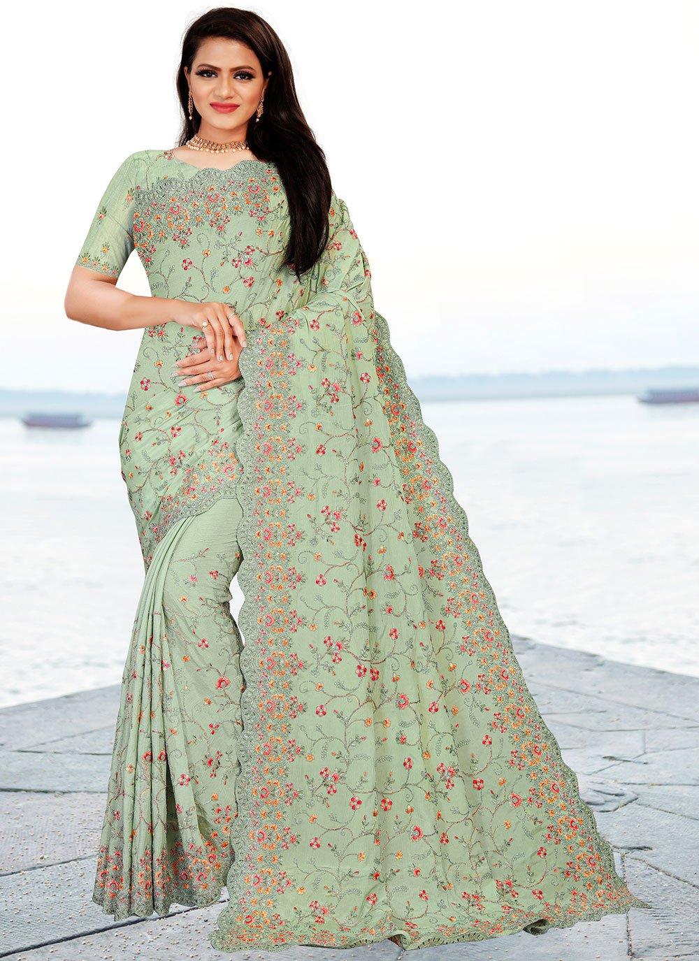 Classic Designer Saree Embroidered Faux Chiffon in Sea Green
