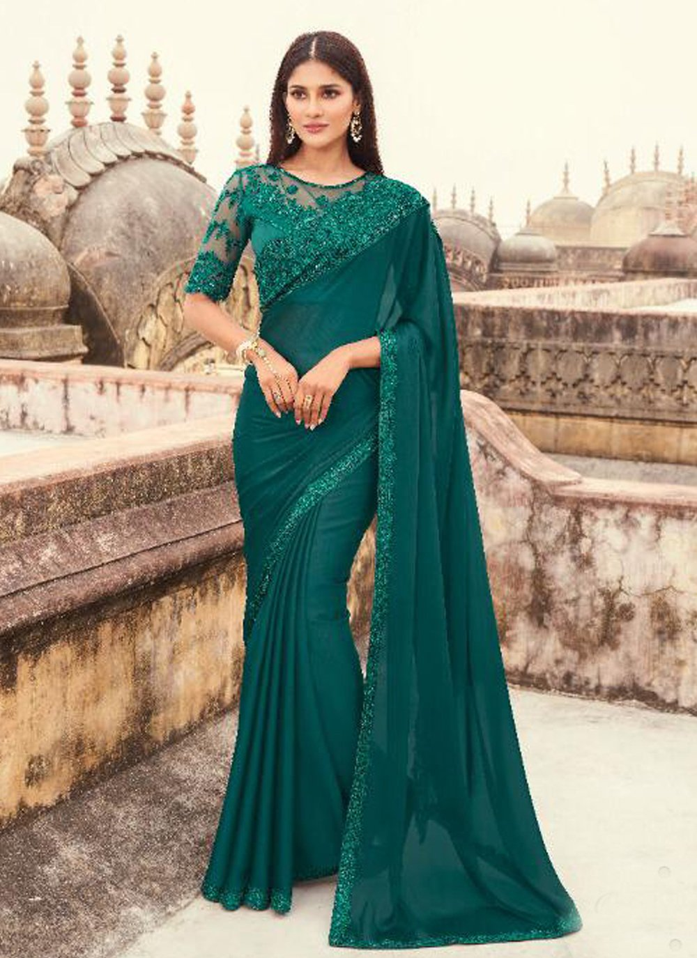 Classic Designer Saree Embroidered Faux Georgette in Teal