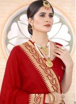 Classic Designer Saree Embroidered Silk in Red